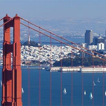 Golden Gate bridge looking over insurance board building
